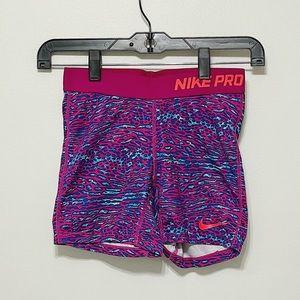 Nike Pro Spandex Shorts - Youth Large Pink Blue 💜